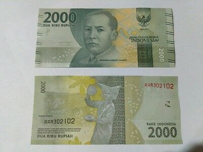 Indonesia 2000 Rupiah 2016 New Note UNC 10 notes
