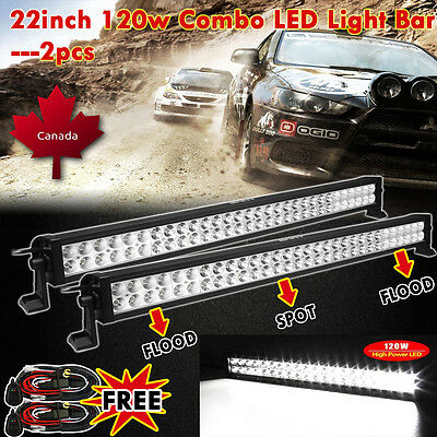 2x 22inch 120W COMBO LED Light Bar Off-road Driving Lamp SUV Boat 4WD Truck 20