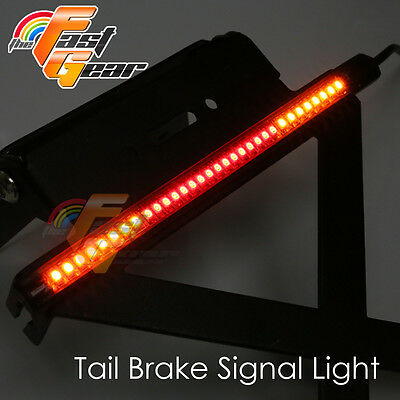 Tail Number Plate Bracket 3528 RED LED Strip Bar Light For Universal MotorBike