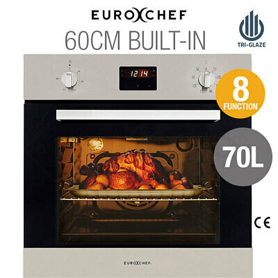 EUROCHEF 60cm Electric Wall Oven - Built In 70L Fan-Forced - 8 Function - Grill