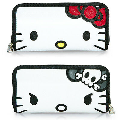 $ New LOUNGEFLY HELLO KITTY 2-Sided Wallet SANRIO Face Head Angry Mad White