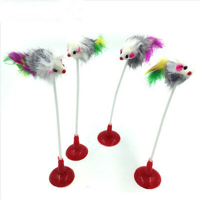 Cat Kitten Pet Feather Teaser Mouse Interactive Stick Toy Wire Chaser Wand