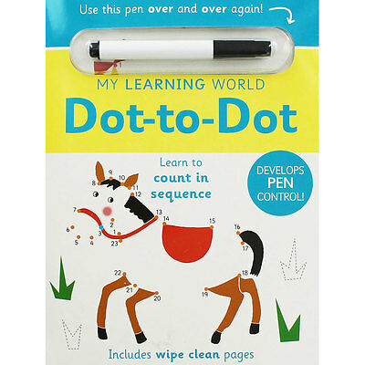 My Learning World Dot To Dot - Wipe Clean Activity Book, Children's Books, New