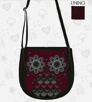 $ New LOUNGEFLY Handbag Crossbody Bag Purse BURGUNDY OWL BLACK Stud Faux Leather