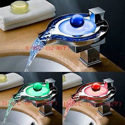 New Unique style Brass Waterfall RGB LED Bathroom Sink Faucet Basin Mixer Tap