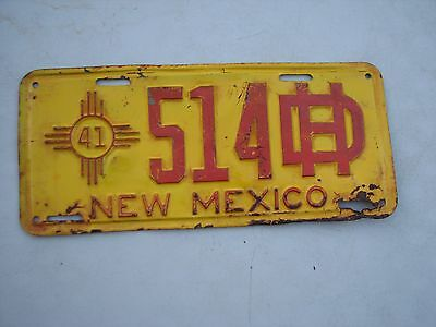 "New Mexico Original 1941  Highway Dept License Plate  "" 514 Hd "" Nm 41"