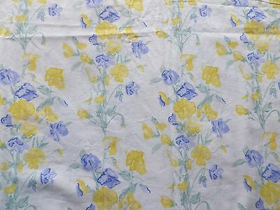 Vintage Laura Ashley Cotton Interiors Fabric Panel 'Sweet Pea' Yellow Blue