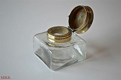 Antique replacement inkwell hinged top writing box ink well pot slope dip pen