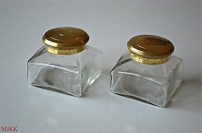 Pair antique replacement inkwell screw top writing box ink well pot slope pen