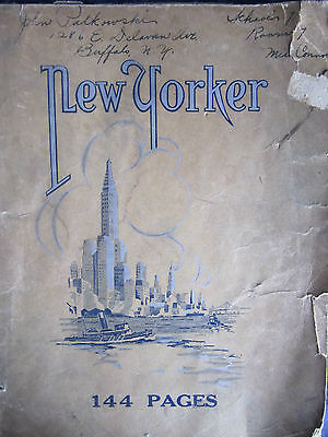 1929 New Yorker School Note Book Empire State/harbor Drawing Cover 144 Pgs