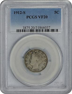 1912-S Liberty Nickel VF20 PCGS Very Good 20