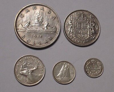 CANADA, 1910-1951 coin selection in silver, includes 1936 dollar.