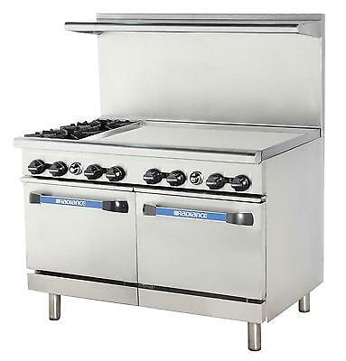 "Radiance 48"" Commercial Gas Range 2 Std Ovens 2 Burners & 36"" Griddle"
