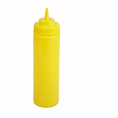 Winco PSW-12Y 6 Pack of 12oz Yellow Wide Mouth Squeeze Bottles