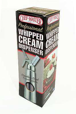 ChefMaster 90063 NSF Stainless Steel Whipped Cream Dispenser - 1 L / 2 Pint