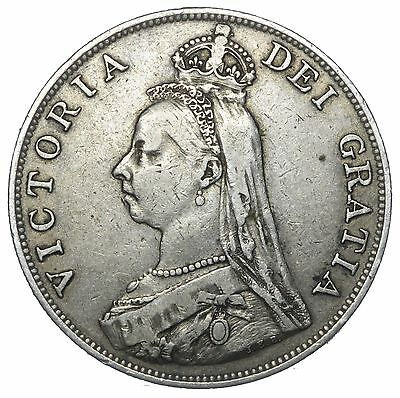 1889 Double Florin (Inverted 1) - Victoria British Silver Coin - Nice
