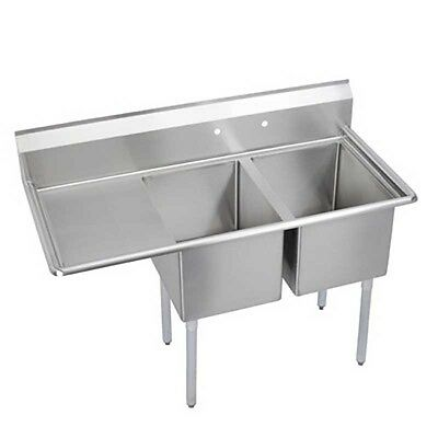 """Elkay Foodservice 2 Comp Sink 18""""x24""""x14"""" Bowls 16/300 S/s with 18"""" Drainboard"""