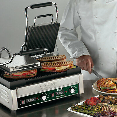 "Waring WPG300T Dual Sandwich Ribbed Panini Grill 17"" x 9.25"" w/ Timer 240v"