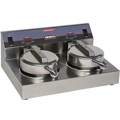 Nemco 7000A-2S240 7in Dual Waffle Baker 20 Waffles/Hour Silverstone Grids 240v