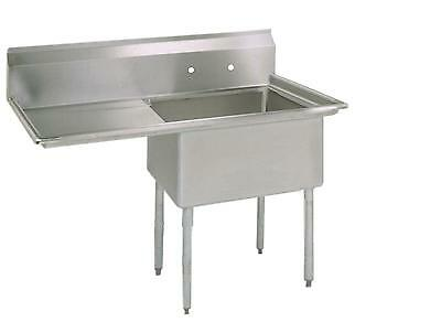 """BK Resources Stainless 1 Compartment Sink w/ 16x20x12""""D Bowl & Drainboard"""