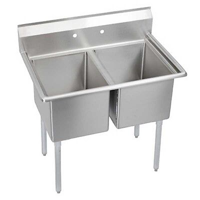 """Elkay Foodservice 2 Compartment Sink 18"""" x 24"""" x 12"""" Bowl 16/300 Stainless"""