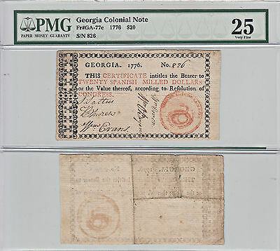 1776 $20 Georgia Colonial Currency PMG Very Fine-25