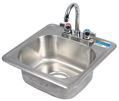 BK Resources Drop In Hand Sink Stainless w/ Deck Mount Faucet & Drain