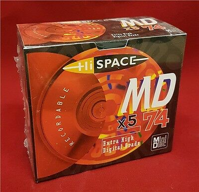 Hi Space 74 Minute Recordable Blank Minidiscs MD 5 Disc Pack RED Mini Discs