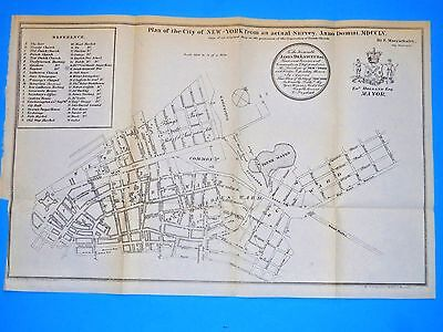 1755 ORIGINAL ANTIQUE  MAP NEW YORK CITY  from VALENTINES HISTORY OF NYC 1853