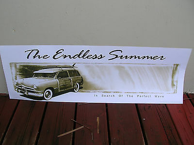 Vintage style endless summer surf poster banner surfboard woody wagon bruce cool