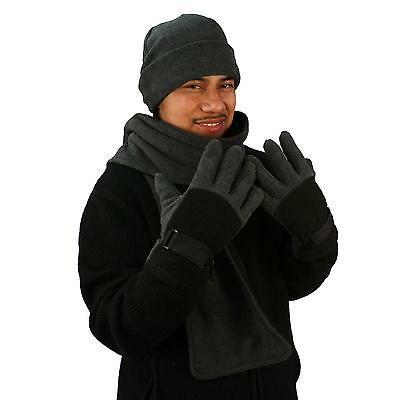Men's Winter Fleece Hat Scarf Gloves Set Charcoal Gray with Black Medium