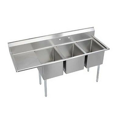 """Elkay Foodservice 3 Comp Sink 18""""x24""""x14"""" Bowl 16/300 Stainless 24"""" Drainboard"""