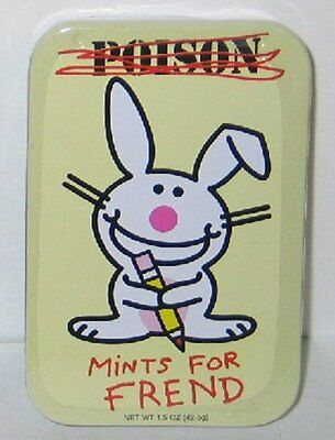 It's Happy Bunny Breath Mints, Poison Mints For Frend, in Metal Tin, NEW SEALED