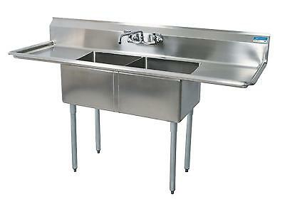 "BK Resources Two Comp Stainless Sink 24""x 24""x14""D Bowls w/ 2 Drainboards"