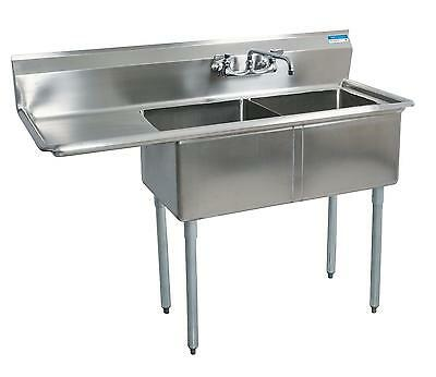 "BK Resources (2)24""x24""x14""D Compartment Sink - Left Drainboard Stainless"