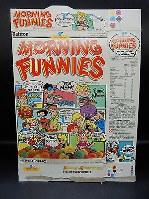 1988 vintage MORNING FUNNIES cereal box Beetle Bailey Dennis the Mienace Marvin+