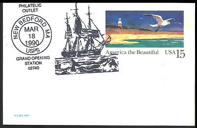 1990 Usa - New Bedford Ma Usps Grand Opening Station - Whales - Cover - J47