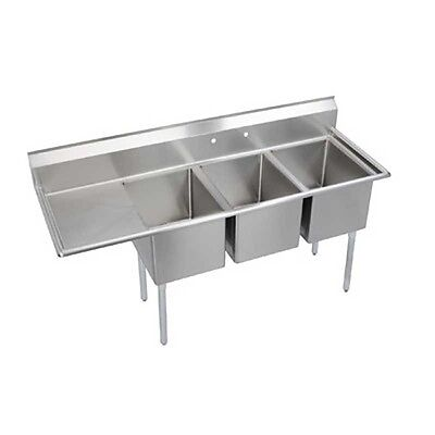 "Elkay Foodservice 3 Comp Deli Sink 10""x14""x10"" Bowl With 12"" Drainboard 16/300 -"