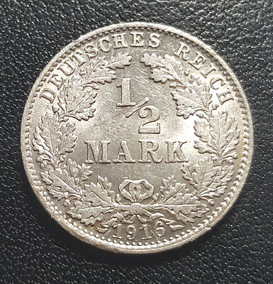 1916 D Germany : Empire 1/2 Mark KM# 17  Silver aUNC Coin