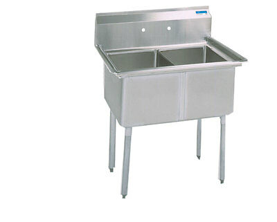 """BK Resources BKS-2-18-12 Two Compartment Stainless Sink w/ 18"""" x 18"""" x 12"""" Bowls"""