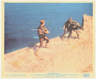 The Vikings original lobby card Kirk Douglas sword fight