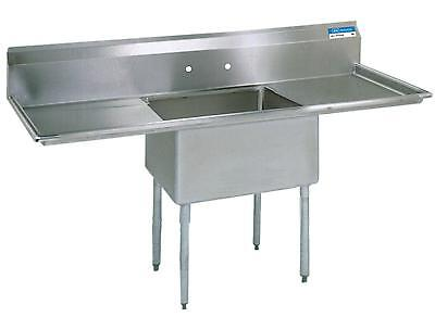 """BK Resources Stainless 1 Compartment Sink w/ 18x24x14""""D Bowl & 2 Dboards"""