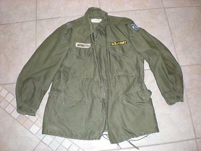 VINTAGE 1957 US ARMY ISSUED FIELD JACKET REGULAR MEDIUM Patches
