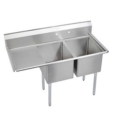 "Elkay Foodservice 2 Compartment Sink 24""x24""x12"" Bowl 16/300 Ss 24"" Drainboard"