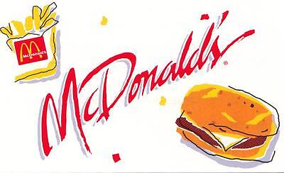McDonald's Free French Fries cards by Classic in 1996