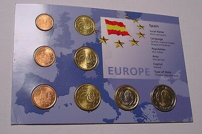 SPAIN. 2002 Euro 1st coin set, Uncirculated in pack of issue.