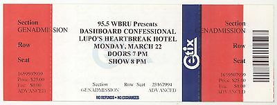 Rare DASHBOARD CONFESSIONAL 3/22/10 Providence RI Lupo's Concert Ticket!