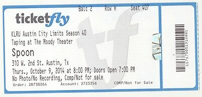 Rare SPOON 10/9/14 Austin City Limits Taping at Moody Theater Concert Ticket!