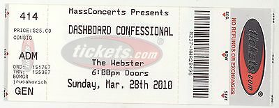Rare DASHBOARD CONFESSIONAL 3/28/10 Hartford CT Webster Theatre Concert Ticket!