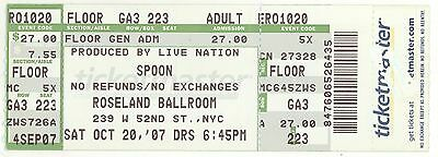 Rare SPOON & THE PONYS 10/20/07 NYC NY Roseland Ballroom Concert Ticket!